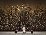 Papa Francisco em audiência com a imprensa na sala Paolo 6º no Vaticano