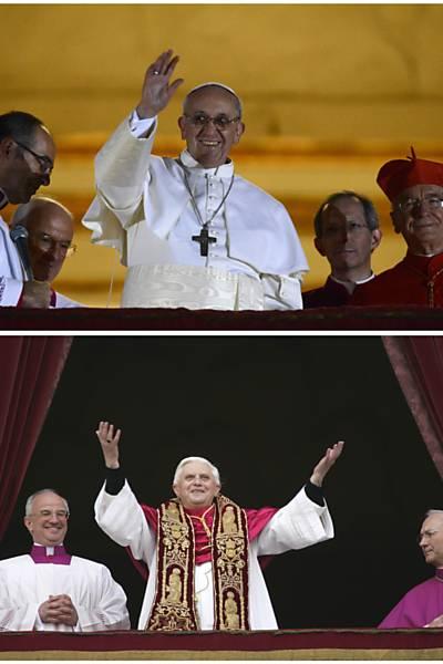 Veja os diferentes estilos dos dois últimos papas