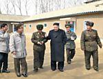 Ditador norte-coreano Kim Jong-un durante visita realizada no dia 22 de março a Unidade 1973 do Comando do Exército Popular da Coreia