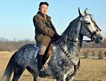 Foto divulgada pela imprensa oficial norte-coreana mostra o ditador Kim Jong-un em um cavalo, durante inspeção ao campo de treinamento do Exército da Coreia do Norte