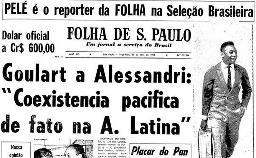 Pelé, repórter da Folha na seleção brasileira