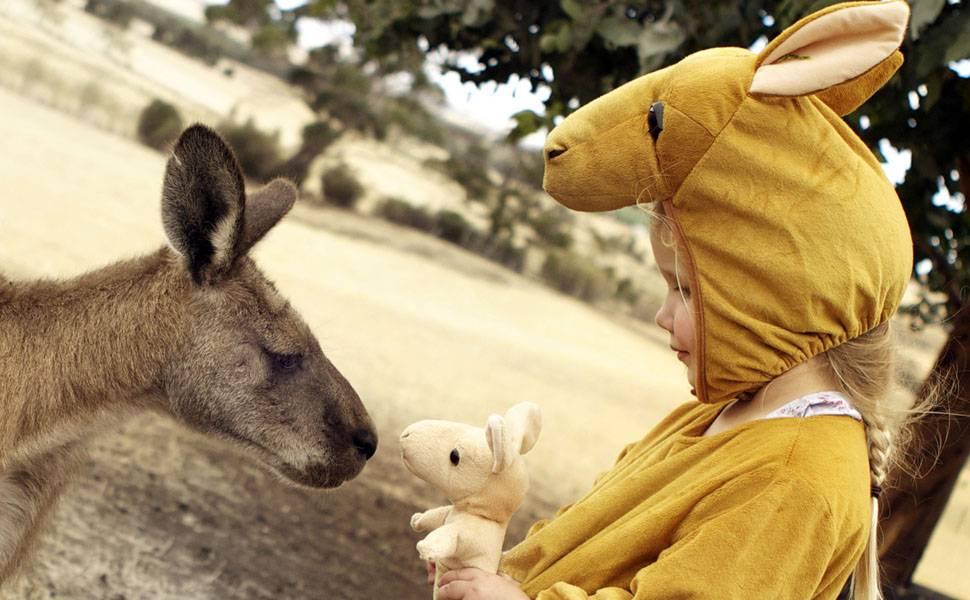 Fantasiada, menina interage com cangurus