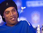 Ronaldinho Gaucho já no Flamengo em 2011, durante entrevista coletiva pela seleção brasileira no WTC na avenida das Nações Unidas em São Paulo