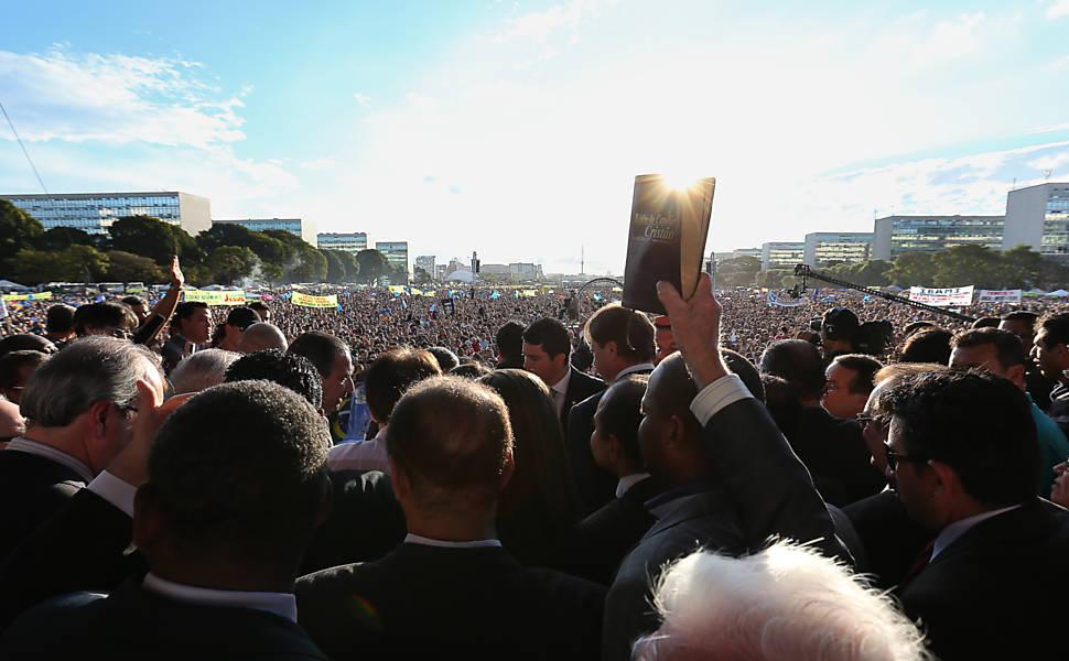 Evangélicos protestam na Esplanada dos Ministérios