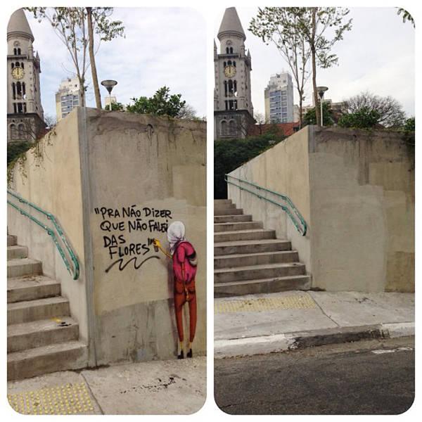 Osgemeos protestam após remoção de grafite em SP