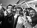 Nabi Abi Chedid comemora com José Maria Marin sua eleição para o comando da CBF, no Rio, em 1986