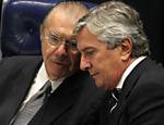 O lado de Fernando Collos, Sarney participa de sessão do Senado Federal que elegeu o senador Renan Calheiros (PMDB-AL), como novo presidente da casa para o biênio 2013/14