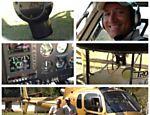 Gugu Liberato posa com o comandante Hamilton ao lado do helicóptero de sua produtora equipado com câmera que gera imagens em HD