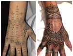 Rihanna posta antes e depois de sua tatuagem na mão