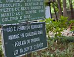 Aviso contra abandono de animais no Parque Piqueri. Estimativa é que hoje vivam 150 tartarugas no lago.