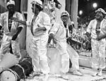 Mussum, Dedé, Didi e Zacarias (da esq. para a dir.) desfilam na escola de samba Unidos do Cubuçu, em 1988
