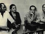 Foto tirada em 1983 com os atores e humoristas Mussum, Dedé, Didi e Zacarias (da esq. para a dir.)