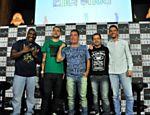 Angelo Campos, Dennys Motta, Tatola Godas, Ricardinho Mendonça e o diretor do Encrenca, Ricardo de Barros