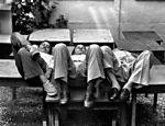 Da esq. para a dir., Chico, Tom e Vinicius na churrascaria Carreta, em 1979
