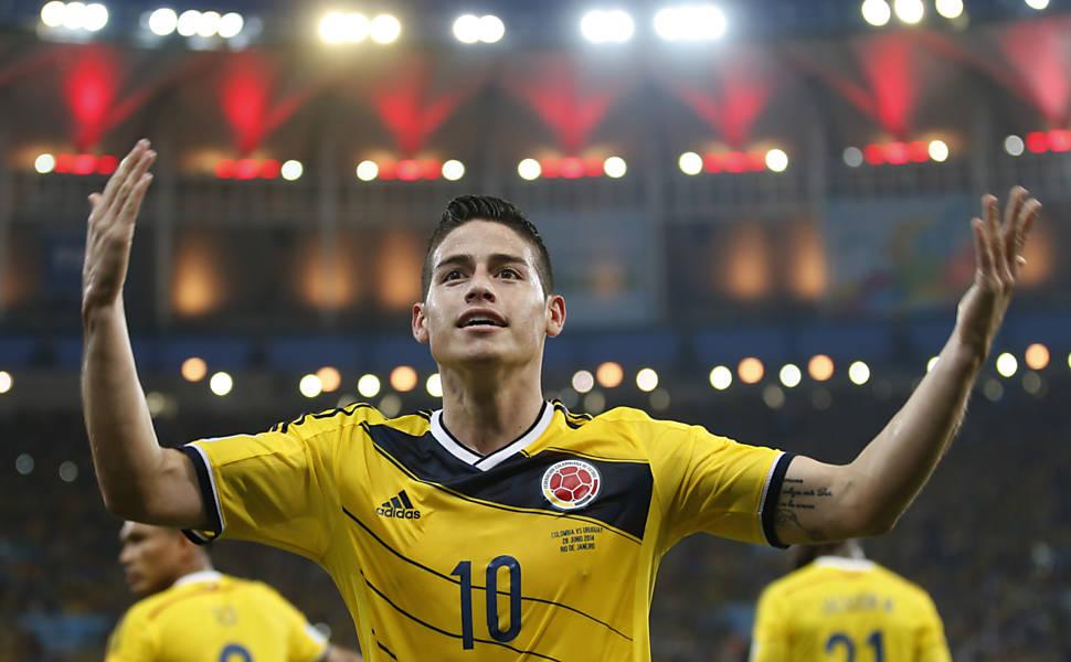 A partida entre Colômbia e Uruguai na Copa-2014