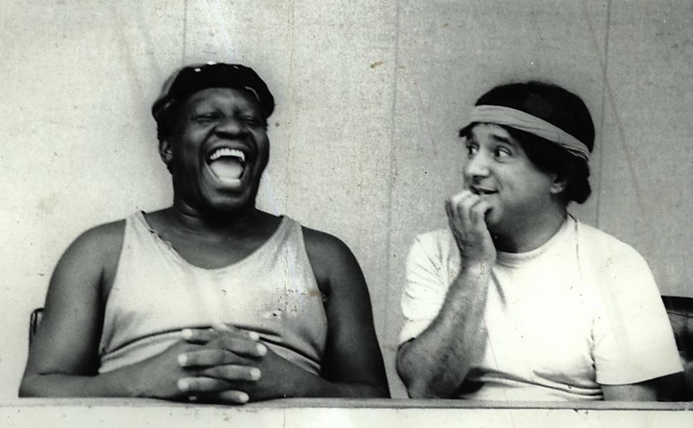 O humorista Mussum (à esq.) e Zacarias durante gravação do programa