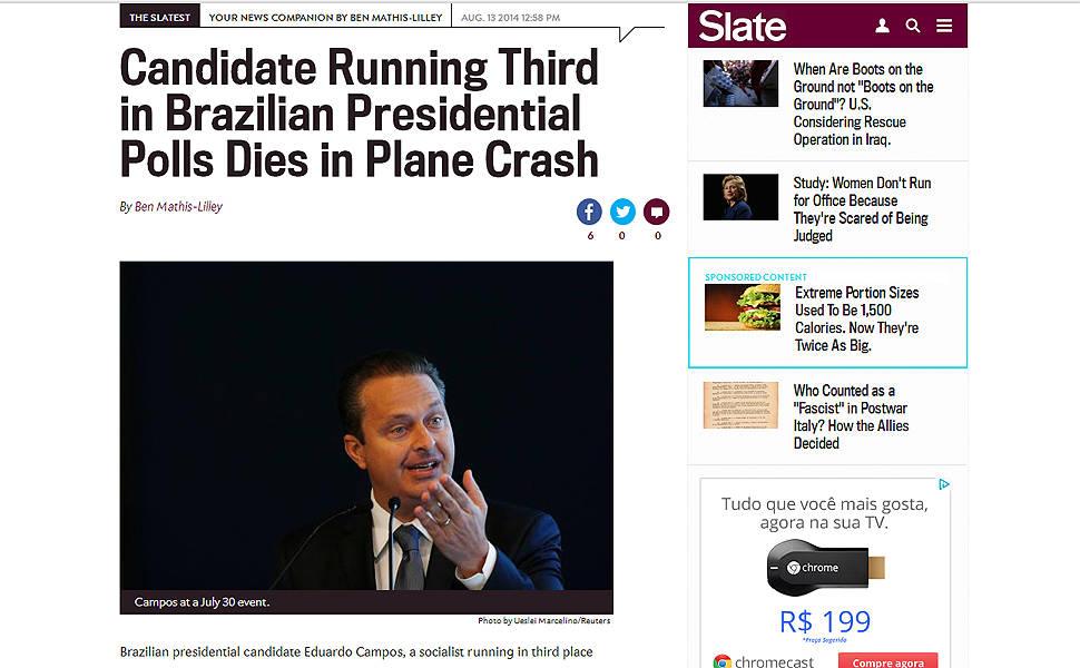 Morte de Campos repercute na imprensa internacional