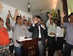 Flávio Dino, então candidato do PC do B ao governo do Maranhão, participa de encontro com evangélicos