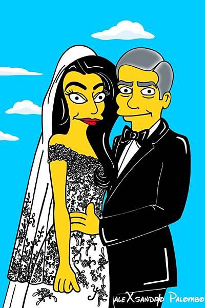 Amal Alamuddin e George Clooney são recriados ao estilo dos 'Simpsons'
