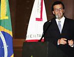 Aécio discursa durante solenidade de posse como governador de Minas