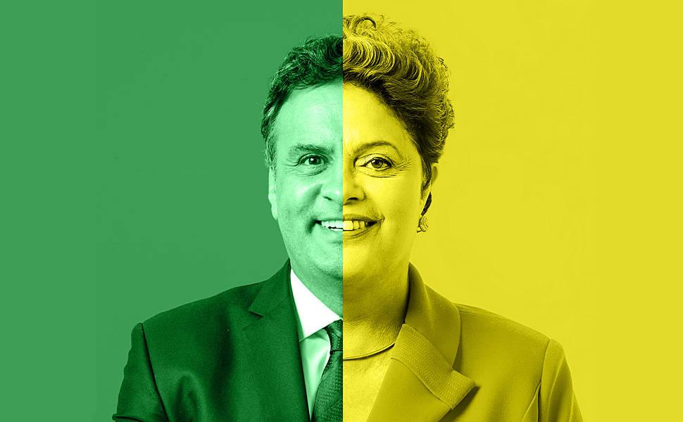 Veja as montagens entre as fotos de Dilma e Aécio