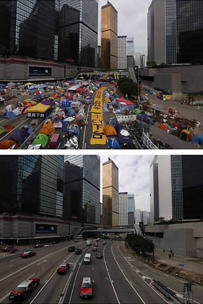 Antes e depois dos protestos em Hong Kong de 2014