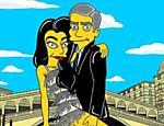 O ator George Clooney e sua mulher, Amal Alamuddin, como personagens da série de desenho animado 'Simpsons'