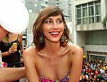 A modelo Michelli Provensi durante desfile do bloco carnavalesco Acadêmicos do Baixo Augusta