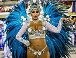 Patrícia Nery, rainha de bateria da Portela no segundo dia do Carnaval do Rio de Janeiro na Sapucaí <a href=