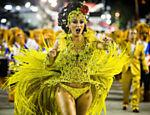 A rainha de bateria da União da Ilha, Bruna Bruno, no desfile da União da Ilha no segundo dia do Carnaval do Rio de Janeiro na Sapucaí <a href=