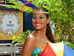 A passista pernambucana Evelyn Oliveira se apresentou no bloco