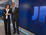 William Bonner e Renata Vasconcellos no novo cenário do 'Jornal Nacional'