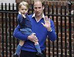 Príncipe George, com papai William, chega ao hospital para conhecer a mana real