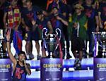 Neymar durante a recepção da torcida do Barcelona após o título da Liga dos Campeões