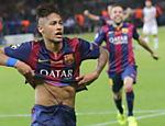 Neymar comemora o terceiro gol do Barcelona contra a Juventus pela Liga dos Campeões
