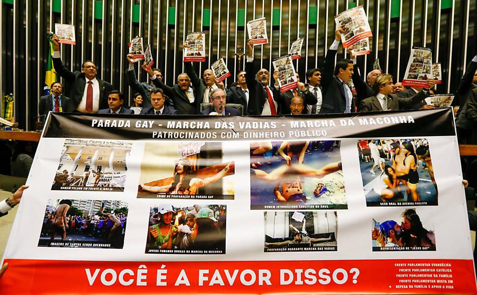 Protesto dos deputados da bancada evangélica