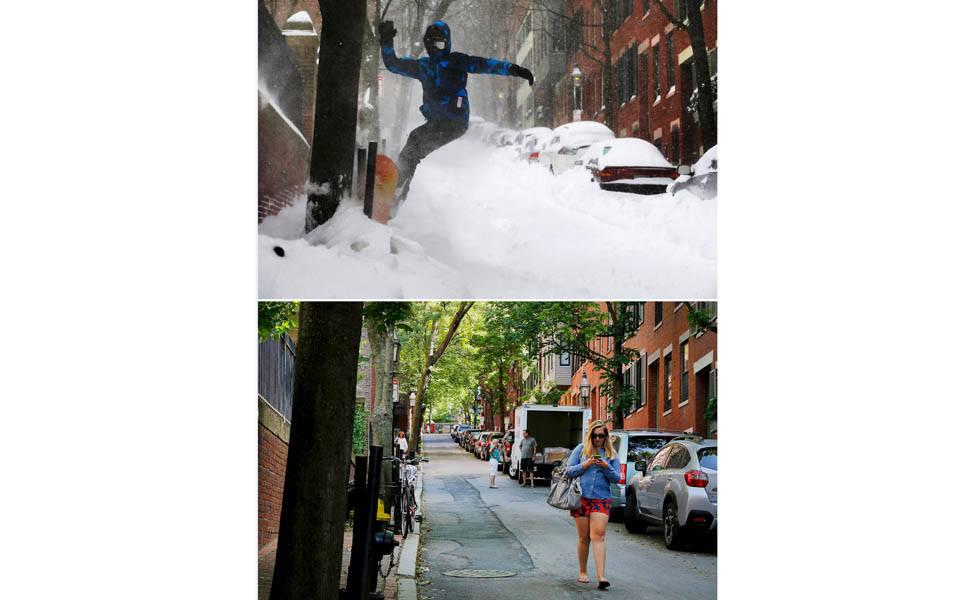 Fotos mostram antes e depois da neve nos EUA