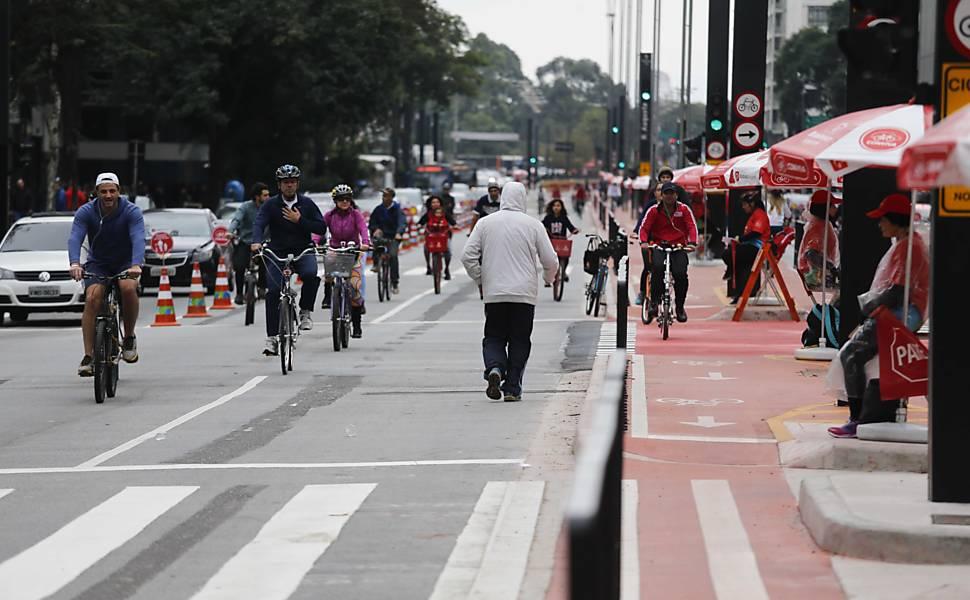 Ciclovia e ciclofaixa da avenida Paulista