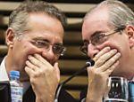 Renan Calheiros e Eduardo Cunha conversam em evento de campanha