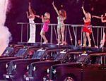 O grupo Spice Girls durante a cerimônia de encerramento, no estádio Olímpico, em Londres