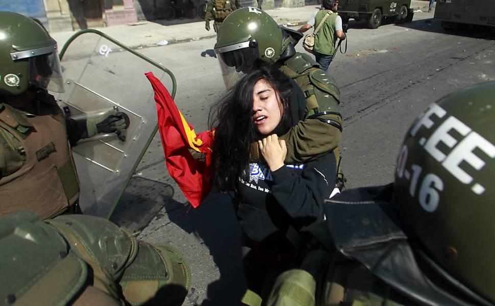 Protesto no Chile relembra golpe de 1973