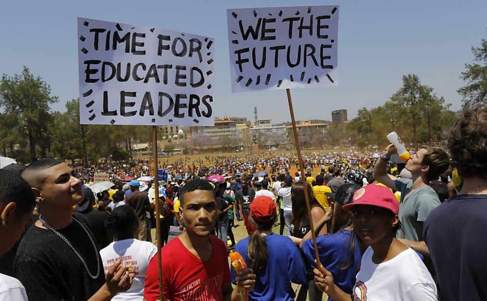 Estudantes protestam na África do Sul