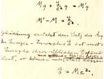 Detalhe de uma explicação feita por Einstein de como chegou à famosa equação E=mc², consequência da Teoria da Relatividade Especial
