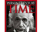 O cientista Albert Einstein na capa da revista Time, que o escolheu como personalidade do século
