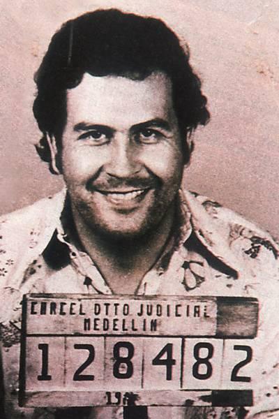 Famosa imagem do traficante colombiano Pablo Escobar, feita após ter sido preso em 1976