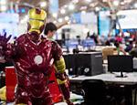 Uma das atrações clássicas do evento são os computadores modificados, conhecidos como casemods; na imagem, um PC inspirado no personagem Homem de Ferro