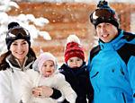 A família real se diverte durante férias nos alpes franceses