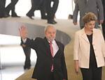 Dilma e Lula chegam para cerimônia de posse do ex-presidente como novo ministro da Casa Civil, no Palácio do Planalto