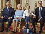 Imagem feita para selo real com Charles, Elizabeth 2ª, George e William