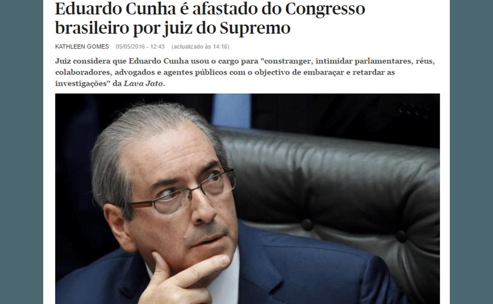 Imprensa internacional repercute afastamento de Cunha, em 2016